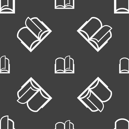 reading app: Book sign icon. Open book symbol. Seamless pattern on a gray background. Vector illustration