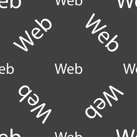 world wide: Web sign icon. World wide web symbol. Seamless pattern on a gray background. Vector illustration Illustration
