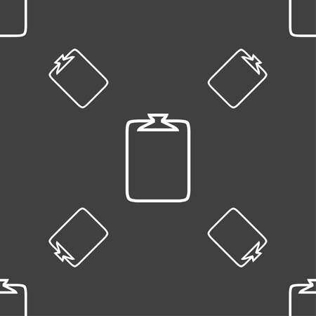 attach: File annex icon. Paper clip symbol. Attach sign. Seamless pattern on a gray background. Vector illustration
