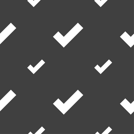 confirm: Check mark sign icon . Confirm approved symbol. Seamless pattern on a gray background. Vector illustration