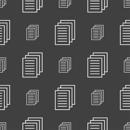 duplicate: Copy file sign icon. Duplicate document symbol. Seamless pattern on a gray background. Vector illustration