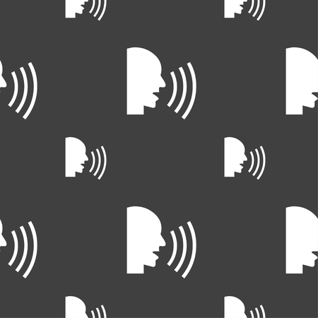 aloud: Talking Flat modern web icon. Seamless pattern on a gray background. Vector illustration
