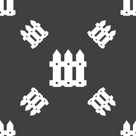 Fence icon sign. Seamless pattern on a gray background. Vector illustration Illustration