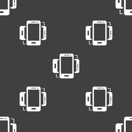 data synchronization: Synchronization sign icon. smartphones sync symbol. Data exchange. Seamless pattern on a gray background. Vector illustration Illustration