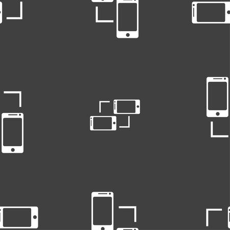 sync: Synchronization sign icon. communicators sync symbol. Data exchange. Seamless pattern on a gray background. Vector illustration