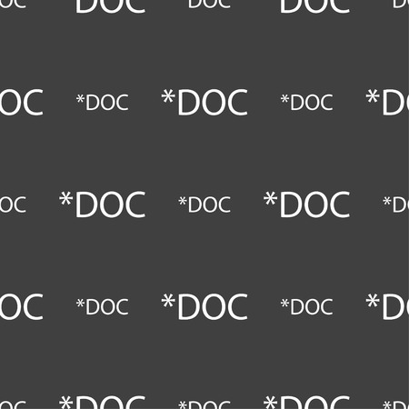 doc: File document icon. Download doc button. Doc file extension symbol. Seamless pattern on a gray background. Vector illustration Illustration