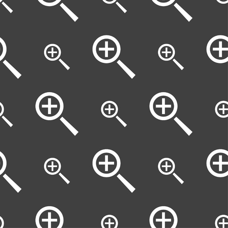 interface menu tool: Magnifier glass, Zoom tool icon sign. Seamless pattern on a gray background. Vector illustration