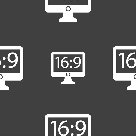 aspect: Aspect ratio 16:9 widescreen tv icon sign. Seamless pattern on a gray background. Vector illustration
