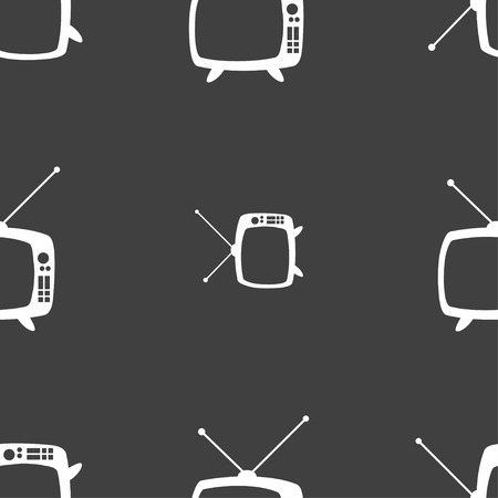 television set: Retro TV mode sign icon. Television set symbol. Seamless pattern on a gray background. Vector illustration
