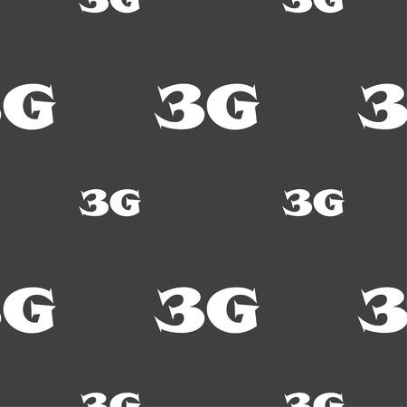 telecommunications technology: 3G sign icon. Mobile telecommunications technology symbol. Seamless pattern on a gray background. Vector illustration Illustration