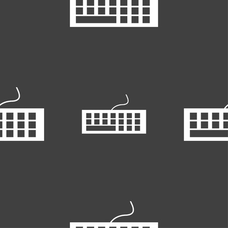 input device: Computer keyboard Icon. Seamless pattern on a gray background. Vector illustration