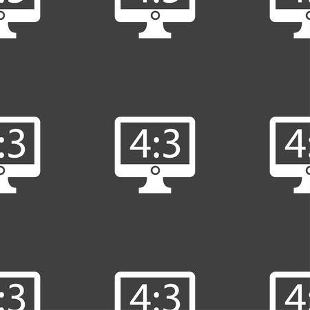 aspect: Aspect ratio 4 3 widescreen tv icon sign. Seamless pattern on a gray background. Vector illustration