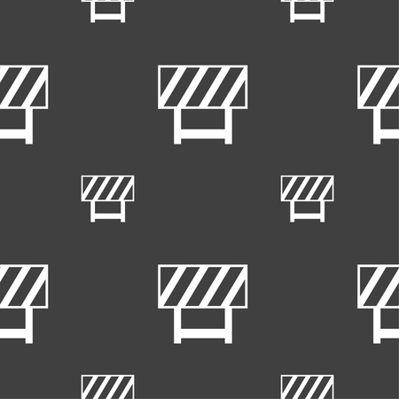 traffic barricade: road barrier icon sign. Seamless pattern on a gray background. Vector illustration Illustration
