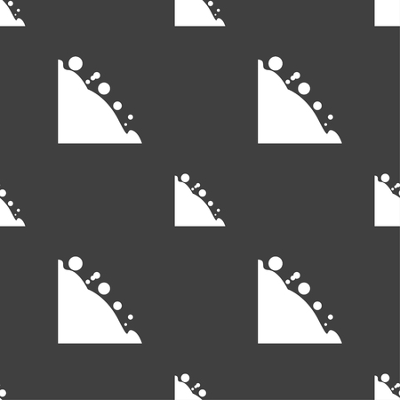 rockfall: Rockfall icon. Seamless pattern on a gray background. Vector illustration