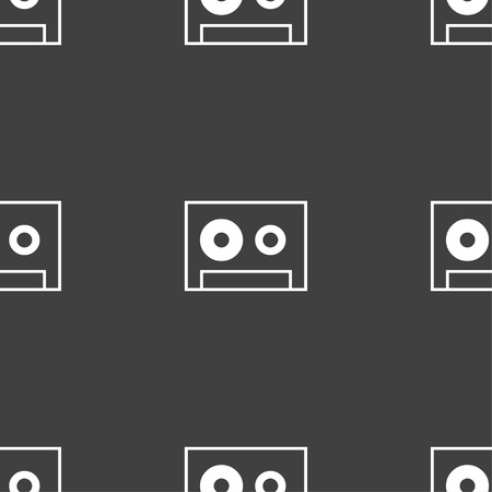 compact cassette: cassette sign icon. Audiocassette symbol. Seamless pattern on a gray background. Vector illustration