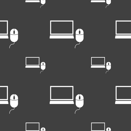 ico: Computer widescreen monitor, mouse sign ico. Seamless pattern on a gray background. Vector illustration