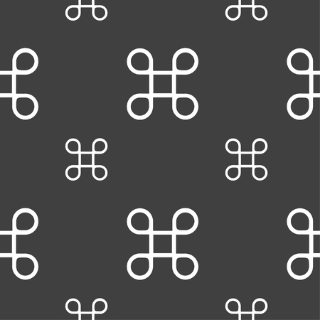 maestro: Keyboard Maestro icon. Seamless pattern on a gray background. Vector illustration