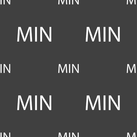 min: minimum sign icon. Seamless pattern on a gray background. Vector illustration