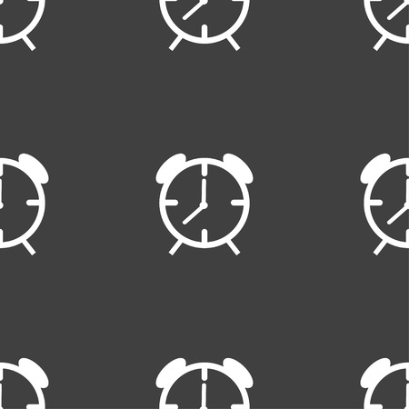 wake up call: Alarm clock sign icon. Wake up alarm symbol. Seamless pattern on a gray background. Vector illustration