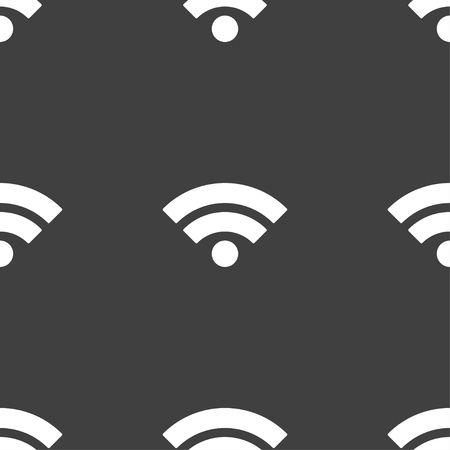 wifi sign: Wifi sign. Wi-fi symbol. Wireless Network icon. Wifi zone. Seamless pattern on a gray background. Vector illustration