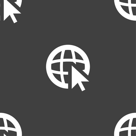 world wide web: Internet sign icon. World wide web symbol. Cursor pointer. Seamless pattern on a gray background. Vector illustration