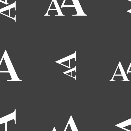 aa: Enlarge font, AA icon sign. Seamless pattern on a gray background. Vector illustration Illustration