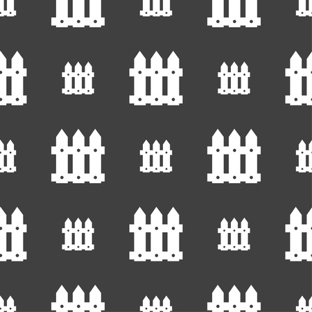 bucolic: Fence icon sign. Seamless pattern on a gray background. Vector illustration Illustration