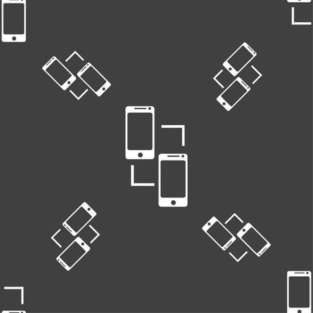 sincronizacion: Icono de la muestra de sincronizaci�n. comunicadores s�mbolo de sincronizaci�n. El intercambio de datos. Patr�n transparente sobre un fondo gris. Ilustraci�n vectorial Vectores