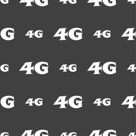 telecommunications technology: 4G sign icon. Mobile telecommunications technology symbol. Seamless pattern on a gray background. Vector illustration Illustration