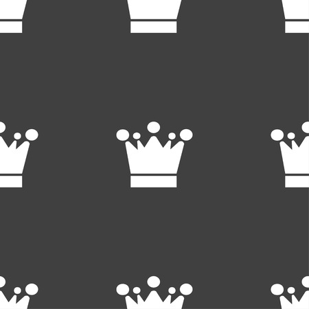 upper class: Crown icon sign. Seamless pattern on a gray background. Vector illustration Illustration