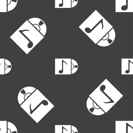 cd player: cd player icon sign. Seamless pattern on a gray background. Vector illustration