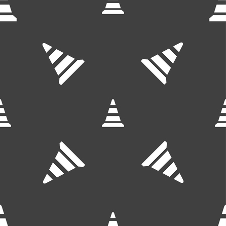 road cone icon. Seamless pattern on a gray background. Vector illustration