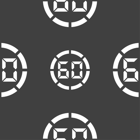 min: 60 second stopwatch icon sign. Seamless pattern on a gray background. Vector illustration Illustration