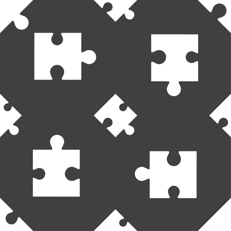 puzzle corners: Puzzle piece icon sign. Seamless pattern on a gray background. Vector illustration