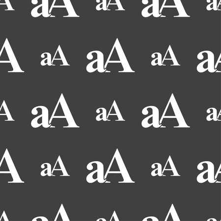aa: Enlarge font, aA icon sign. Seamless pattern on a gray background. Vector illustration