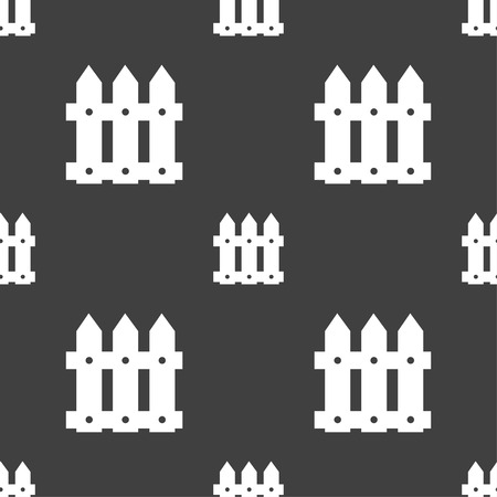 bucolic: Fence icon sign. Seamless pattern on a gray background. Vector illustration Vettoriali