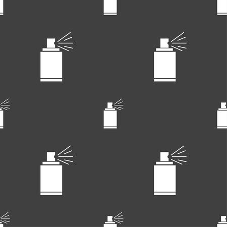 paint can: Graffiti spray can sign icon. Aerosol paint symbol. Seamless pattern on a gray background. Vector illustration