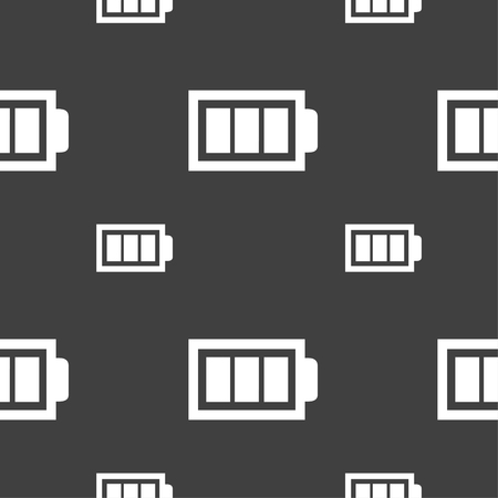 fully: Battery fully charged sign icon. Electricity symbol. Seamless pattern on a gray background. Vector illustration