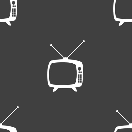 mode: Retro TV mode sign icon. Television set symbol. Seamless pattern on a gray background. Vector illustration