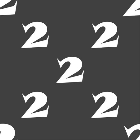 second place: Second place award sign. Winner symbol. Step two.. Seamless pattern on a gray background. Vector illustration