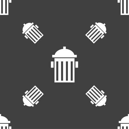 hydrant plug: fire hydrant icon sign. Seamless pattern on a gray background. Vector illustration