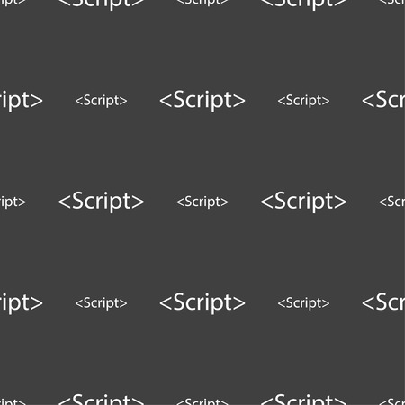 javascript: Script sign icon. Javascript code symbol. Seamless pattern on a gray background. Vector illustration
