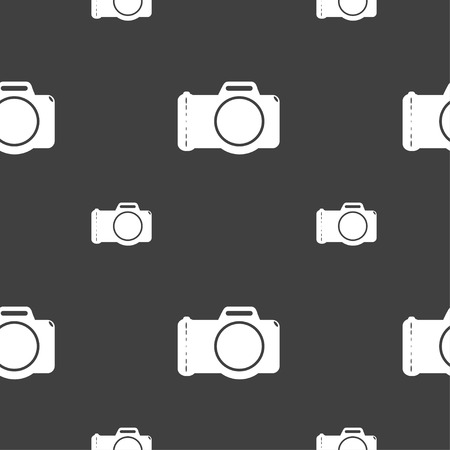 digital photo: Photo camera sign icon. Digital photo camera symbol. Seamless pattern on a gray background. Vector illustration Illustration