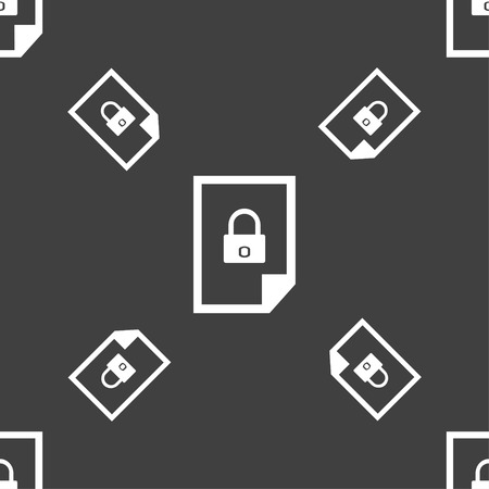 lockout: File locked icon sign. Seamless pattern on a gray background. Vector illustration Illustration