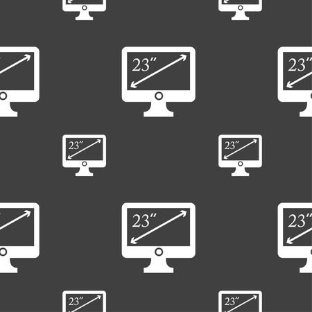 23: diagonal of the monitor 23 inches icon sign. Seamless pattern on a gray background. Vector illustration