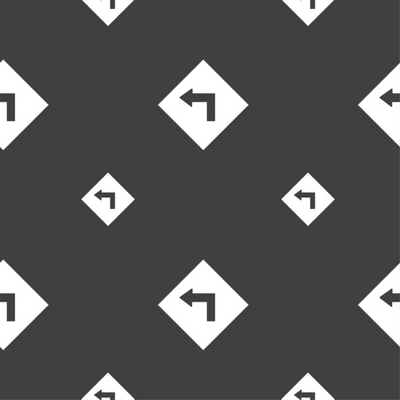 danger ahead: Road sign warning of dangerous left curve icon sign. Seamless pattern on a gray background. Vector illustration Illustration