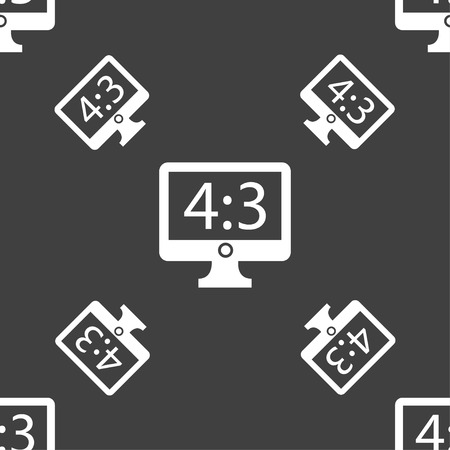 4 3 display: Aspect ratio 4 3 widescreen tv icon sign. Seamless pattern on a gray background. Vector illustration