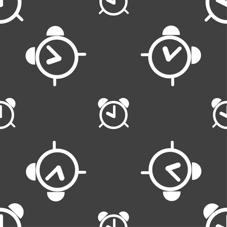 wake: Alarm clock sign icon. Wake up alarm symbol. Seamless pattern on a gray background. Vector illustration