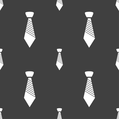 official wear: Tie sign icon. Business clothes symbol. Seamless pattern on a gray background. Vector illustration Illustration