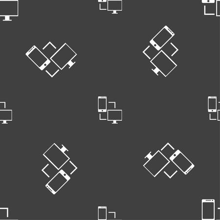 synchronization: Synchronization sign icon. communicators sync symbol. Data exchange. Seamless pattern on a gray background. Vector illustration